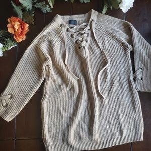 Sweaters - Chunky Knit Lace Up ribbed Sweater Tan M/L